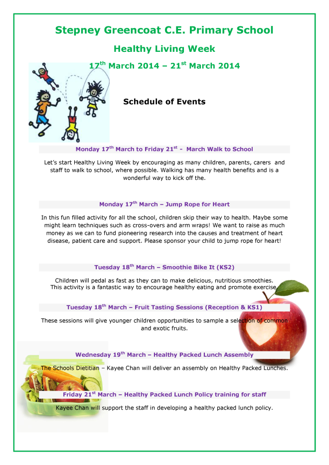 Healthy Living Week : 17th-21st March 2014